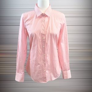 J Crew Haberdashery Pink and White Stripped Blouse